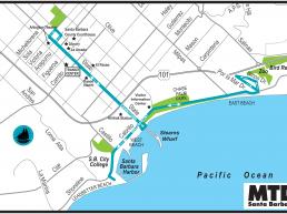 Santa Barbara MTD Downtown and Waterfront Shuttles System Map Thumbnail Image